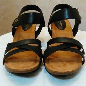 Strappy Wedge Sandal in BLack
